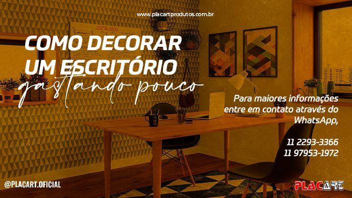 A imagem mostra um escritório decorado com a parede adesivada.