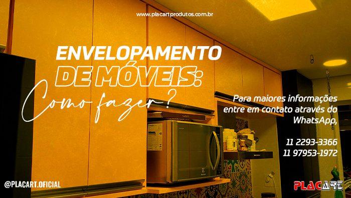 A imagem mostra uma cozinha com armários envelopados de amarelo.